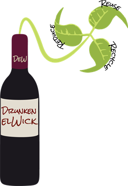 Drunken elWick Logo. Reduce, reuse, recycle.
