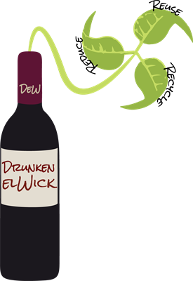 Drunken elWick Logo: Candles that Reduce, Reuse, Recycle.